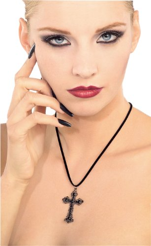 Rubie's Blood Line Collection Gothic Cross Necklace, Black, One Size