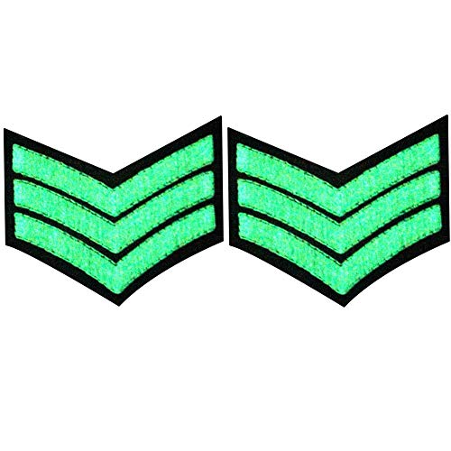 Glow in Dark Millitary Uniform Chevrons Sergeant Stripes US Army Embroidered Arms Emblem Iron On Sew On Shoulder Patch, Pack of ()