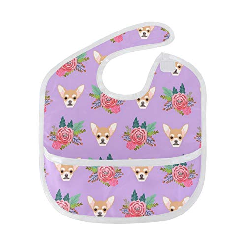 Baby Chihuahua Portrait and Floral Bib, Waterproof, Washable, Stain and Odor Resistant, 6-24 Months, Unisex
