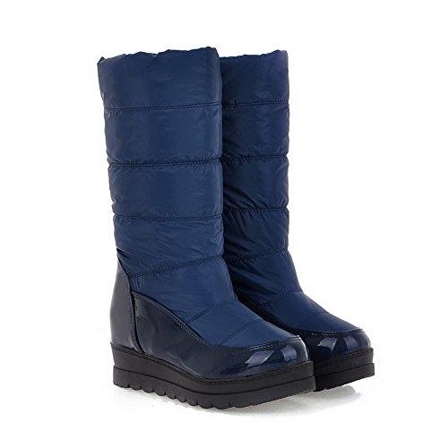 Balamasa Femmes Talons Mi-mollet Solide Pu Bottes Droites Bleu