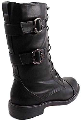 Lucita Donna Com Boot-050 Stivali Stile Militare Allacciatura Alla Caviglia Neri