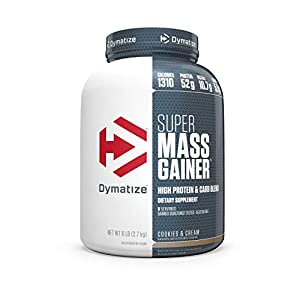 Dymatize Super Mass Gainer Protein Powder, 1310 Calories & 52g Protein, Gain Strength & Size Quickly, 10.7g BCAAs, Mixes Easily, Tastes Delicious, Cookies & Cream, 6 lbs