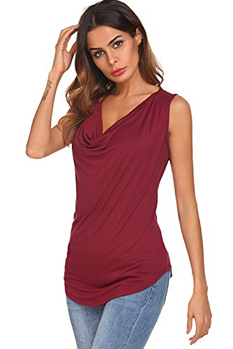 Qearal Womens Cowl Neck Ruched Sleeveless Blouse Casual Slim Fitted Shirt Tank Tops (Wine Red, -