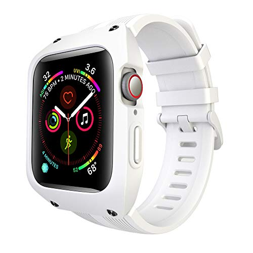 - Boxer Series Watch Case Compatible with Apple Watch 44mm 2018, OXWALLEN Silicone Sport Apple Watch Band Strap iWatch Series 4 with Shockproof Screen Protector Case for Active Men,Women - White