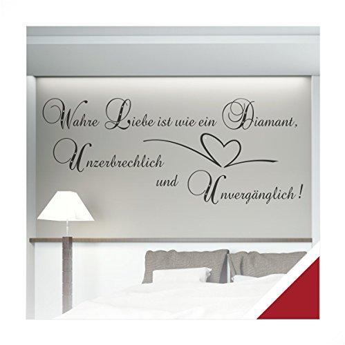 Wandtattoo Zitat Spruch Wahre Liebe mit Ornament inkl. SWAROVSKI (zit13 dunkelrot) 120 x 49 cm mit Farb- u. Größenauswahl