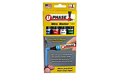 U-Mark 10718PSA Blue/Red/White/Green U-Phase Marker for Marking Up to #6 AWG Electric Wire, Single Phase, 13 mL (Pack of 4)