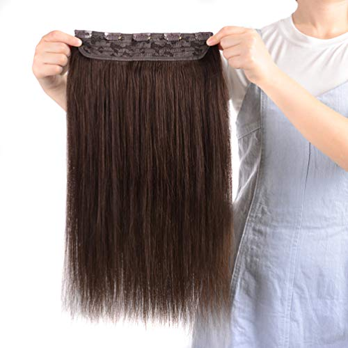 Winsky Clip in Real Hair Extensions Human Hair 5clips 50g - One Piece Soft Straight 3/4 Full Head Hair Pieces for Women (14inches, Dark Brown #2) (Extension Shipping One Hair Piece)
