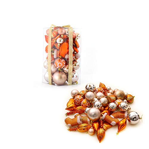 MOOSENG 50-Pack Assorted Shatterproof Christmas Ball Ornaments Set Decorative Baubles Pendants with Premium Gift Wrapping Ribbon for Xmas Tree (Copper) (Balls Copper Christmas)