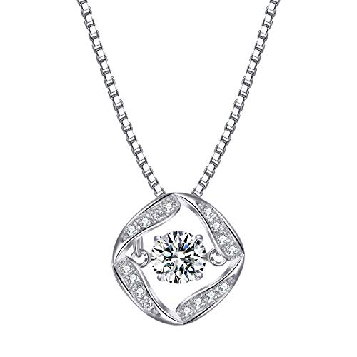 T400 925 Sterling Silver Pendant Necklace Dancing Diamond Stone Cubic Zirconia from Swarovski Women Gift
