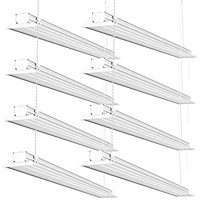 Sunco Lighting 8 Pack Flat LED Shop Light, 4 FT, Linkable Double Integrated LED, 40W=300W, 5000K Daylight, 4500 LM, Clear Lens, Plug in, Suspension Mount, Pull Chain, Garage - ETL + Energy Star
