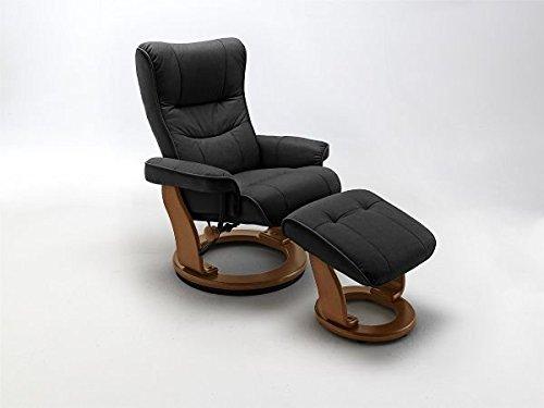 Relaxsessel Montreal schwarz mit Hocker, echt Leder