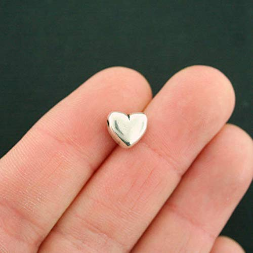 Pendant Jewelry Making for Bracelets and Chains 12 Heart Spacer Beads Antique Silver Tone 3D 10mm x 9mm - SC7482 ()