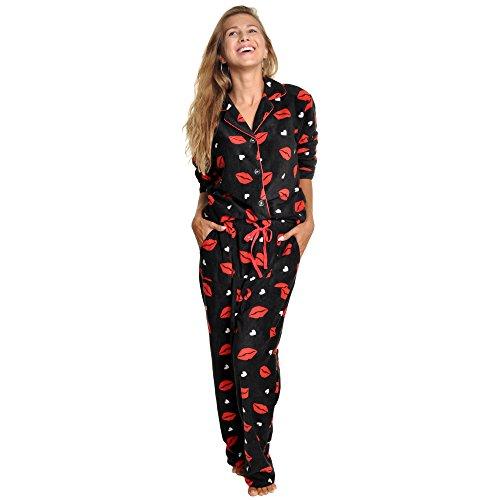 Petite Flannel Pajamas (Angelina Cozy Pajama Set, #56_LIPS_2XL)