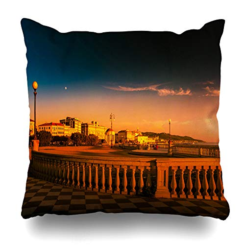 Ahawoso Throw Pillow Cover Contrast Leghorn Livorno Tuscany Italy Promenade Mascagni Terrace Coast at Night Black White Decorative Pillowcase Square 20x20 Home Decor Zippered Cushion Case ()