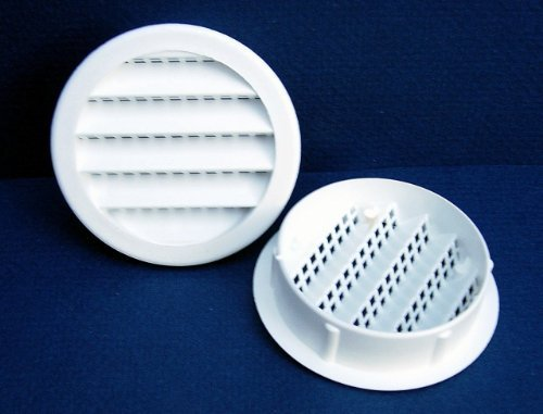 Maurice Franklin Louver-4'' Round White Polypropylene Plastic Louver with Insect Screen System (Priced Per Bag of 4). Item #4'' PLW-100 by Maurice Franklin Louver