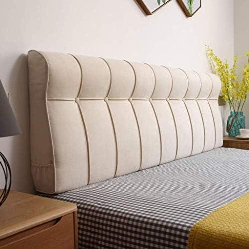 ベッドのソフトバッククッション、無垢材のベッドカバー、大型およびダブルベッドのサポート、ベッドカバー、読書、ダストカバー、洗える、4色、9サイズ(色:ベージュ、サイズ:180 * 60 * 18 cm)
