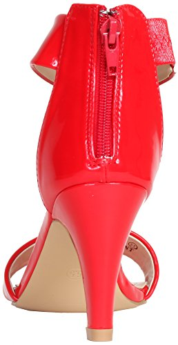Bella Marie By Anna Shoes Womens Elysa-2 Patent Enkelband Manchet Hak Sandaal (rood)