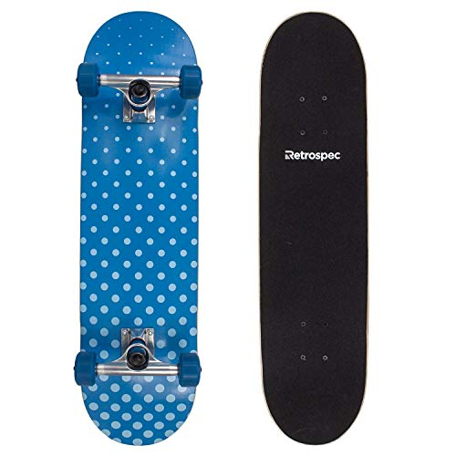 - Retrospec by Westridge Alameda Skateboard Complete with ABEC-11 & Canadian Maple Deck, Blue Halftone (Renewed)
