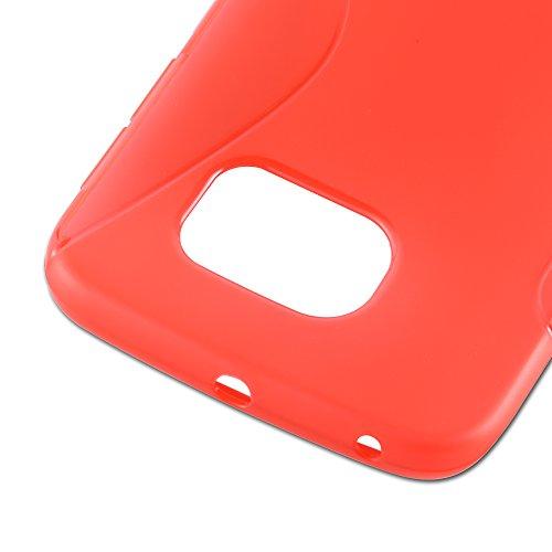 Cadorabo - Samsung Galaxy NOTE 4 (N910) Cubierta protectora de silicona TPU en diseño S-Line - Case Cover Funda Carcasa Protección en ÓXIDO-NEGRO ROJO-INFIERNO