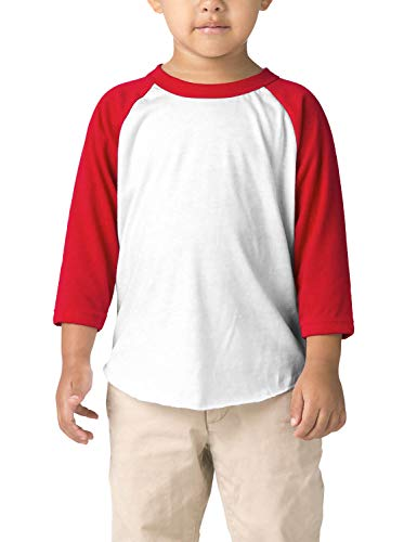 Hat and Beyond Infant Raglan 3/4 Sleeves Baseball Tee (18M, (Baby) 5bh03_White/Red)