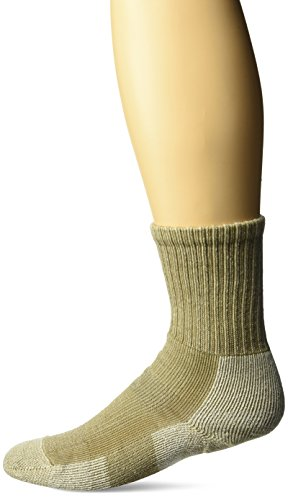 (Thorlos Women's WLTHW Light Hiking Thick Padded Wool Crew Sock, Khaki, Medium)