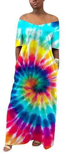 (Women's Tie Dye Long Dress V Neck Boho Short Sleeve Beach Maxi Dress with Pockets)