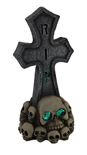 Zeckos Resin Statues Rip Cross and Skulls Color Changing Led Lighted Tombstone Statue 4.75 X 10.25 X 4.75 Inches Gray
