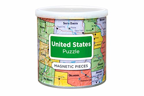 Educational United States Magnetic 100 Piece Puzzle with Storage Canister