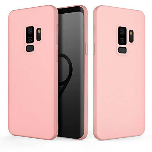 Galaxy S9 Plus Case, Fuleadture Liquid Silicone Gel Rubber Case Shockproof Slim Soft Protective Cover with Microfiber Cloth Lining Cushion for Samsung Galaxy S9 Plus - Pink