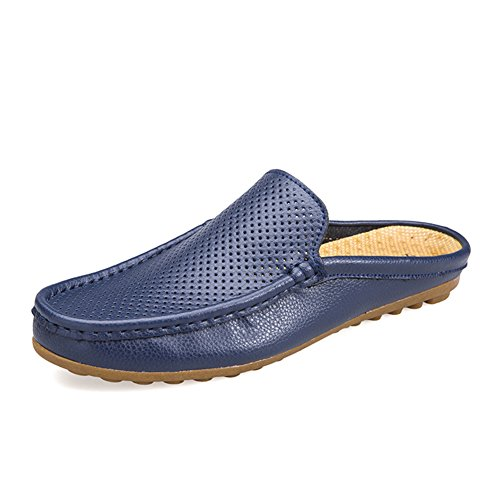 Leather Mens Clogs - Go Tour Mens Mules Clog Slippers Breathable Punching Leather Slip on Shoes Casual Loafers Blue 46