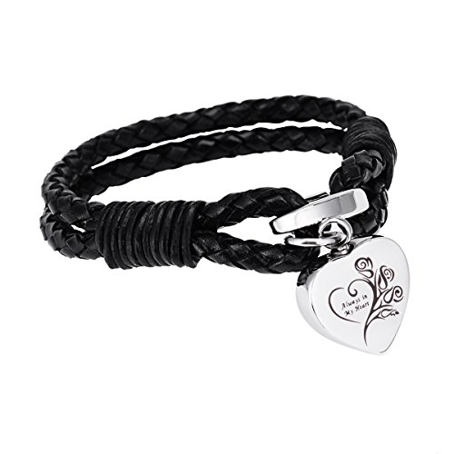 Always In My Heart Pendant PU Leather Urn Bracelet Cremation Jewelry Memorial Ashes Keepsake