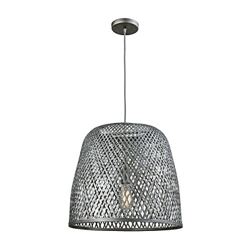 Elk Lighting 31642/1 Pleasant Fields - One Light Pendant, Weathered Gray Finish with Gray Wicker Shade (Finish Shade Wicker)