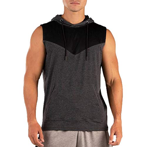 Giulot Men's Sleeveless Hoodie Shirt, Classic Running Shirt for Fitness/Outdoor/Cafe/Gym Quick Dry Active Vest Tank Tee Black