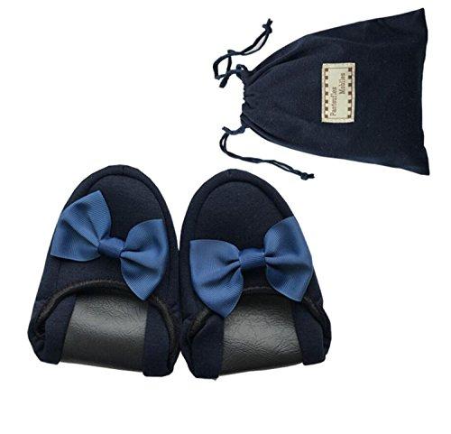 DANDANJIE Travel Airlines Zapatillas Plegables portátiles Spring Indoor Mute Soft-Bottom Pantuflas de algodón Bolsas de Almacenamiento Zapatos de Transporte (Negro Azul) Zapatos caseros Azul