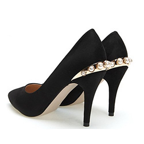 VogueZone009 Womens Closed Pointed Toe High Heel Suede PU Frosted Solid Pumps with Metal Black c8b86Sz