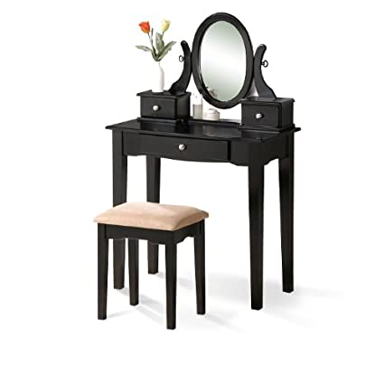 Amazon Com Black Vanity Set With Stool Kitchen Dining