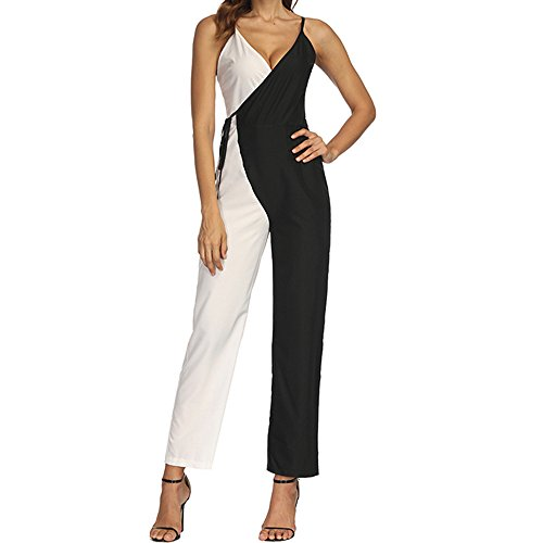- ♡Londony♡ Summer Sexy Deep V Neck Solid Sleeveless Wide Leg Jumpsuit Casual Spaghetti Strap Stretchy Long Pant Rompers Black