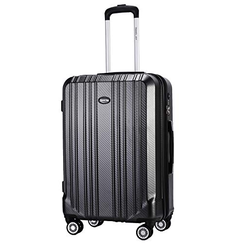 Expandable Carry on Luggage Premium Carbon Fiber Suitcase TSA Lightweight Spinner Carry On Luggage 20inches DARK GREY