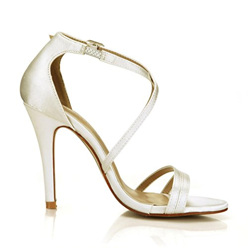 de una básicas de imitación de de las de mujeres suela de goma 10 correas boda 4U cruzadas altos zapatos Mejor seda cm verano beige Sandalias bombas de hebilla tacones BxqAEwZ6