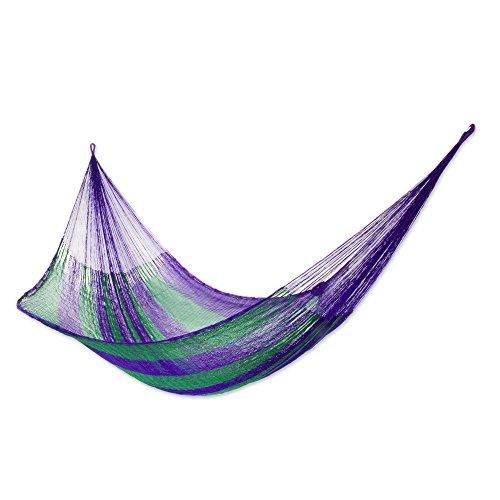 NOVICA Nylon Purple and Green Rope Hammock 'Green Vineyard' (Double)