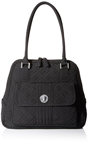 Vera Bradley Turn Lock Satchel Bag, Classic Black, One Size ()