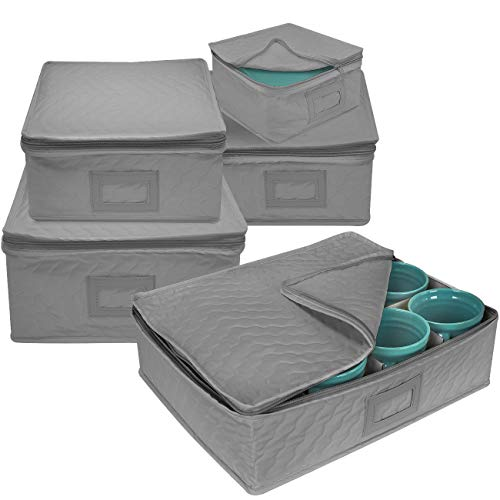 (Sorbus 5-Piece Dinnerware Storage Square Set, Service for 12, Quilted Protection, Includes Felt Protectors and Cardboard Dividers for Plates, Cups, Fine China (Square Storage - Gray))