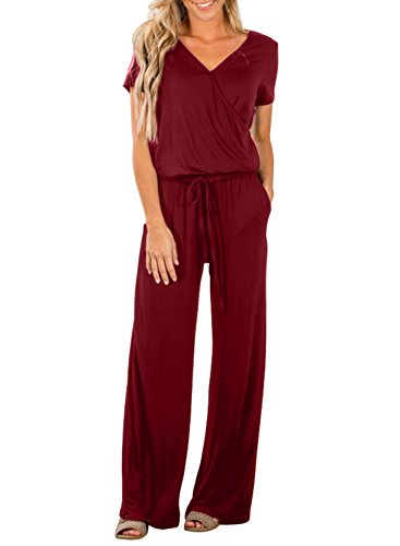 Dearlove Womens Casual V Neck Short Sleeve Loose Wide Legs Elastic Waist Long Pant Jumpsuits Rompers with Pockets Solid Wine Plus Size XXL ()