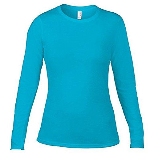Anvil - Camiseta de manga larga - para mujer Azul Caribe