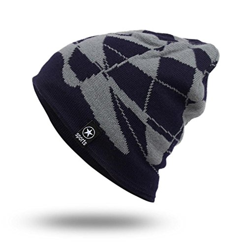 GBSELL Unisex Winter Warm Casual Knitting Beanie Hat Hip-Hop Sport Running Ski Cap Fashion (Navy) (Hat Ski Knitting)