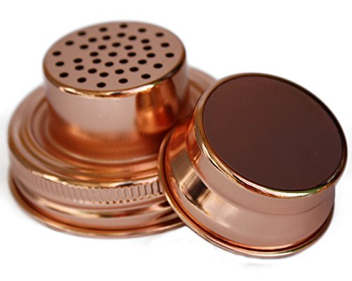 (Cocktail Shaker Lid with Silicone Seals for Regular Mouth Mason, Ball, Canning Jars (Copper))
