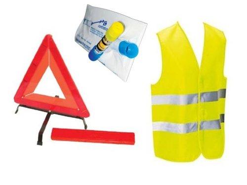 Kit auto sécurite : 1 Gilet jaune EN471 + 1 triangle de signalisation + 1 éthylotest dans une housse à zip. Equilibre et Aventure