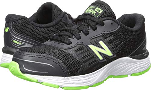 New Balance Boys' 680v5 Running Shoe, Black/RBG Green, 6 M US Big Kid (Boy Athletic Shoes Size 6)