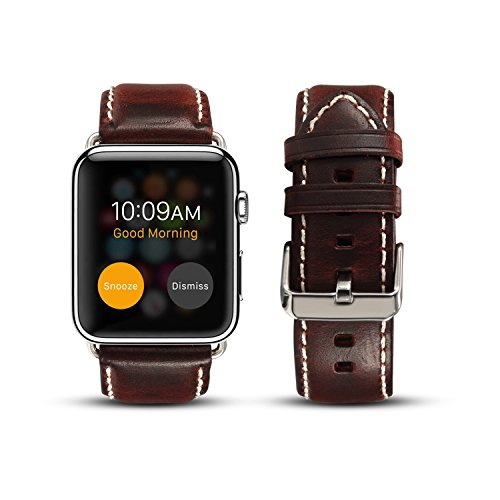 - DaGeLon Compatible with iWatch Retro Strap 44mm Series 4 42mm Series 3 Series 2 Series 1, Vintage Genuine Leather Band Durable Exquisite Replacement Wristband for Apple Watch Sport Edition, Maroon