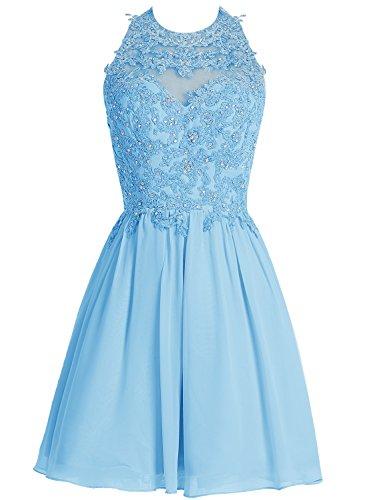 Bbonlinedress Vestido de homecoming fiesta Corto de Gasa con aplicaciones Azul